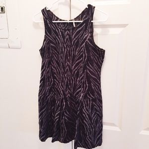Free People Dress Grey Zebra Print Pockets Size 2